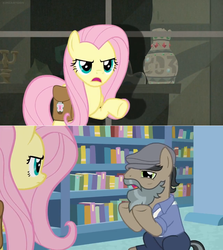 Size: 1600x1792 | Tagged: book, bookshelf, bookstore, comic, daring doubt, disguise, earth pony, edit, edited screencap, fake beard, female, fluttershy, george r.r. martin, hat, male, mare, martingale, newsboy hat, pegasus, pony, saddle bag, safe, screen, screencap, screencap comic, shelf, spoiler:s09e21, stallion, unamused, vase