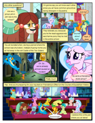 Size: 612x792 | Tagged: safe, artist:newbiespud, edit, edited screencap, screencap, auburn vision, berry blend, berry bliss, bifröst, citrine spark, cozy glow, fire quacker, gallus, huckleberry, november rain, ocellus, peppermint goldylinks, sandbar, silverstream, smolder, yona, changedling, changeling, classical hippogriff, dragon, earth pony, griffon, hippogriff, pegasus, pony, unicorn, yak, comic:friendship is dragons, background pony, background pony audience, book, bow, castle of the royal pony sisters, comic, dialogue, dragoness, female, filly, flying, friendship student, frown, hair bow, hands together, male, screencap comic, sitting, smiling, student six