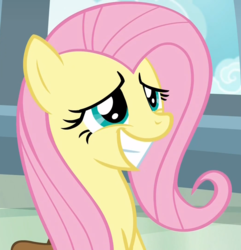 Size: 1041x1080 | Tagged: safe, screencap, fluttershy, pegasus, pony, daring doubt, cropped, cute, female, mare, saddle bag, shyabetes, sitting, smiling, solo