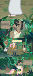 Size: 1600x3598 | Tagged: safe, edit, edited screencap, screencap, biff, doctor caballeron, fluttershy, rogue (character), withers, pony, daring doubt, comic, dialogue, fedora, flower, hat, henchmen, jungle, screencap comic, speech bubble, stepping on something, sun hat, sunglasses, vine