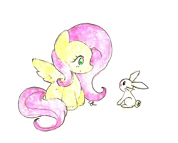 Size: 978x789 | Tagged: angel bunny, artist:chiuuchiuu, cute, duo, fluttershy, looking at each other, pegasus, pony, safe, shyabetes, simple background, transparent background