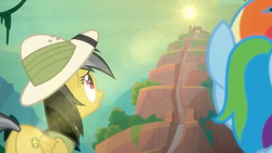 Size: 1600x900 | Tagged: daring do, daring doubt, female, glare, looking up, mare, pegasus, pony, rainbow dash, safe, screencap, sky, spoiler:s09e21, stairs, sun glare, sunrise, temple, worm's eye view