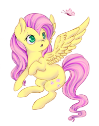 Size: 2581x3300 | Tagged: artist:esurie, butterfly, colored pupils, cute, female, fluttershy, high res, looking at something, mare, :o, open mouth, pegasus, pony, safe, shyabetes, simple background, solo, spread wings, transparent background, wings