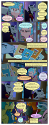 Size: 612x1553 | Tagged: safe, artist:newbiespud, edit, edited screencap, screencap, chancellor neighsay, cozy glow, gallus, ocellus, sandbar, silverstream, smolder, yona, changedling, changeling, classical hippogriff, dragon, earth pony, griffon, hippogriff, pegasus, pony, unicorn, yak, comic:friendship is dragons, school raze, angry, chair, chancellor neighsay is not amused, comic, cozy glow is not amused, desk, dialogue, dragoness, female, filly, freckles, frown, hiding, hoof on chest, looking down, looking up, male, raised hoof, screencap comic, sitting, stallion, student six, table, unamused