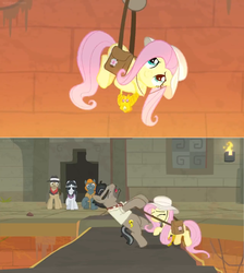 Size: 1600x1788   Tagged: safe, screencap, biff, doctor caballeron, fluttershy, rogue (character), withers, pony, daring doubt, fedora, hanging, hat, henchmen, lava pit, pulling, rescue, saddle bag, sunglasses, temple, torch, truth talisman