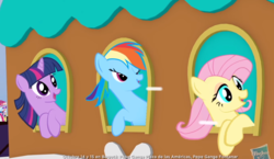 Size: 1070x620 | Tagged: safe, screencap, fluttershy, rainbow dash, twilight sparkle, pony, advertisement, commercial, faic, great moments in animation, official, train, weird