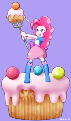 Size: 839x1418 | Tagged: artist:aco77aco, cake, cute, diapinkes, equestria girls, female, food, fork, open mouth, pinkie pie, purple background, safe, simple background, solo