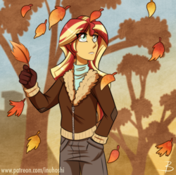 Size: 930x925 | Tagged: safe, artist:inuhoshi-to-darkpen, sunset shimmer, equestria girls, autumn, clothes, eye clipping through hair, falling leaves, female, gloves, hand in pocket, jacket, leaves, pants, scenery, solo, sunset shimmer day, tree