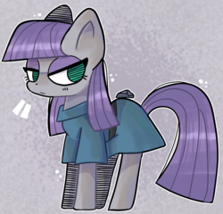 Size: 933x896 | Tagged: artist:suqarclouds, boulder (pet), clothes, dress, earth pony, female, mare, maud pie, no pupils, pony, safe, solo