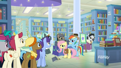 Size: 1920x1080 | Tagged: safe, screencap, biff, doctor caballeron, fluttershy, neigh sayer, november rain, pinot noir, rainbow dash, rogue (character), shiraz, silver berry, sugar maple, withers, earth pony, pegasus, pony, daring doubt, spoiler:s09e21, baseball cap, book, book signing, bookshelf, bookstore, butt, cap, clothes, discovery family logo, disguise, fake beard, female, flat cap, friendship student, glasses, groom q.q. martingale, hat, henchmen, male, mare, pants, saddle bag, scarf, shirt, stallion, sunglasses
