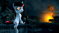 Size: 3840x2160 | Tagged: 3d, 4k, artist:psfmer, debris, dirty, dock, fallout equestria, fallout equestria: project horizons, fanfic art, female, fire, glowing eyes, gun, oc, oc:blackjack, pony, safe, shotgun, sitting, solo, source filmmaker, wasteland, weapon