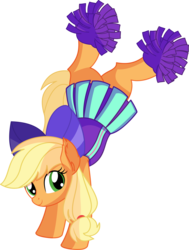 Size: 5544x7317 | Tagged: safe, artist:cyanlightning, applejack, earth pony, pony, .svg available, absurd resolution, cheerleader, cheerleader outfit, clothes, cute, ear fluff, female, handstand, jackabetes, mare, miniskirt, pleated skirt, pom pom, simple background, skirt, smiling, solo, transparent background, upside down, vector
