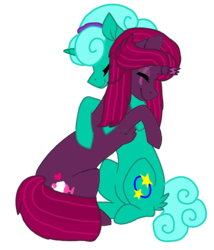 Size: 1080x1260 | Tagged: alternate hairstyle, artist:徐詩珮, base used, broken horn, cute, eyes closed, female, fizzlepop berrytwist, glitterbetes, glitter drops, glittershadow, horn, hug, lesbian, mare, safe, shipping, simple background, tempestbetes, tempest shadow, transparent background, unicorn, vector