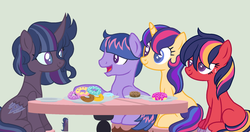 Size: 1944x1029 | Tagged: safe, artist:justanotherfan-trash, oc, oc only, oc:apple spark, oc:athena, oc:dash star, oc:twinkle century, changepony, hybrid, blank flank, donut, female, food, freckles, green background, half-siblings, heterochromia, hybrid wings, interspecies offspring, male, mare, offspring, parent:big macintosh, parent:flash sentry, parent:thorax, parent:twilight sparkle, parents:flashlight, parents:twimac, parents:twirax, simple background, stallion, wings
