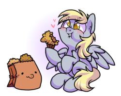 Size: 1050x830 | Tagged: safe, artist:paperbagpony, derpy hooves, oc, oc:paper bag, pegasus, pony, cute, derpabetes, eating, food, heart, muffin, paper bag, puffy cheeks, simple background, that pony sure does love muffins, yellow eyes
