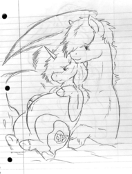 Size: 732x960 | Tagged: artist:nightmareeclipse, belly, belly button, chest fluff, female, hairband, hoof on belly, lined paper, male, mare, oc, oc:applerose, oc:ari, pegasus, pregnant, safe, size difference, stallion, traditional art, unicorn, unshorn fetlocks