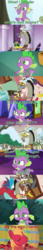 Size: 1154x6735 | Tagged: safe, edit, edited screencap, editor:jdmiles, screencap, big macintosh, discord, spike, draconequus, dragon, pony, best gift ever, discordant harmony, father knows beast, going to seed, the beginning of the end, the big mac question, spoiler:s09e01, spoiler:s09e02, spoiler:s09e10, spoiler:s09e23, android 16, annoyed, apple, barrel, book, canterlot castle, claws, clock, clothes, comic, cute, dark crystal, disappointment, discovery family logo, dragonball z abridged, feet, food, glasses, male, male feet, piccolo (dbz), raised eyebrow, reading, reading glasses, sad, screencap comic, smiling, snow, solo, son gohan, spikabetes, sweater, tail, team four star, tree, underfoot, upset, winged spike