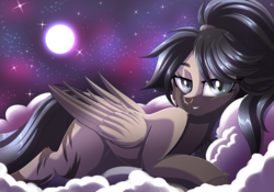 Size: 3194x2238 | Tagged: artist:ask-colorsound, clothes, cloud, colored wings, female, full moon, gradient wings, jacket, looking at you, mare, moon, night, night sky, nose piercing, nose ring, oc, oc only, oc:rhea, pegasus oc, piercing, pony, ponytail, prone, safe, sky, slit eyes, smiling, solo, starry night, stars, wings
