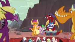 Size: 1920x1080 | Tagged: safe, screencap, baby pinpoint, baby rubble, baby sparks, baby stomp, billy (dragon), fluttershy, fume, garble, smolder, spear (dragon), spike, dragon, sweet and smoky, baby, baby dragon, beatnik, beret, bongos, clothes, dragon egg, dragon lands, dragoness, egg, eggshell, female, hat, male, musical instrument, shirt, striped shirt