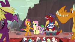 Size: 1920x1080 | Tagged: safe, screencap, baby pinpoint, baby rubble, baby sparks, baby stomp, billy (dragon), fluttershy, fume, garble, smolder, spear (dragon), spike, dragon, pegasus, pony, sweet and smoky, baby, baby dragon, beatnik, beret, bongos, clothes, dragon egg, dragon lands, dragoness, egg, eggshell, female, hat, male, mare, musical instrument, shirt, striped shirt, winged spike, wings