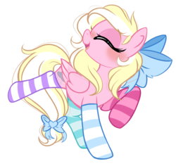 Size: 2573x2430   Tagged: safe, artist:emberslament, oc, oc only, oc:bay breeze, pegasus, pony, 2020 community collab, derpibooru community collaboration, blushing, bow, clothes, cute, eyes closed, female, hair bow, mare, mismatched socks, ocbetes, open mouth, simple background, socks, solo, striped socks, tail bow, transparent background