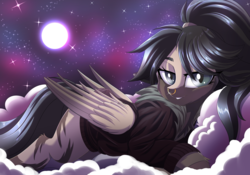 Size: 3194x2238 | Tagged: alternate version, artist:ask-colorsound, bomber jacket, clothes, cloud, colored wings, female, full moon, gradient wings, jacket, looking at you, mare, moon, night, night sky, nose piercing, nose ring, oc, oc only, oc:rhea, piercing, pony, ponytail, prone, safe, sky, slit eyes, smiling, solo, starry night, stars, wings