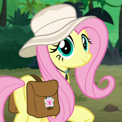 Size: 1000x1000 | Tagged: safe, screencap, fluttershy, pegasus, pony, daring doubt, butt, cropped, cute, female, hat, jungle, looking at you, mare, plot, saddle bag, shyabetes, smiling, solo