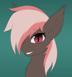 Size: 727x782 | Tagged: artist:kota, bat pony, bat pony oc, bust, chest fluff, cute, ear fluff, ear tufts, female, green background, hair over one eye, mare, oc, ocbetes, oc:choccy, oc only, portrait, safe, simple background, solo