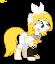 Size: 1148x1344 | Tagged: safe, artist:biitt, artist:xxkawailloverchanxx, pony, base used, crossover, female, kagamine rin, mare, ponified, vocaloid