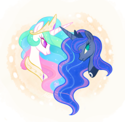 Size: 500x488 | Tagged: abstract background, alicorn, artist:mn27, bust, crown, duo, female, jewelry, mare, no pupils, peytral, pony, portrait, princess celestia, princess luna, profile, regalia, royal sisters, safe, siblings, sisters