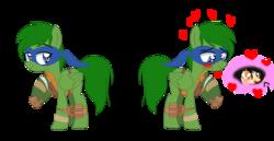 Size: 956x494 | Tagged: safe, artist:strawberry-spritz, artist:xxkawailloverchanxx, oc, pony, base used, crossover, leonardo, ms paint, paint.net, ponified, teenage mutant ninja turtles