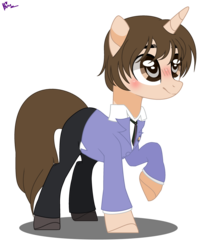 Size: 2553x3073 | Tagged: safe, artist:nocturnal-moonlight, artist:xxkawailloverchanxx, pony, base used, crossover, female, fujioka haruhi, mare, ms paint, ouran high school host club, paint.net, ponified, reverse trap, solo