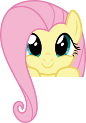 Size: 2674x3832 | Tagged: safe, artist:cheezedoodle96, fluttershy, pegasus, pony, .svg available, boop bait, bust, close-up, cute, female, hair over one eye, hooves on the table, looking at you, mare, part of a set, peekaboo, peeking, portrait, shyabetes, simple background, smiling, solo, svg, this will end in boops, transparent background, vector