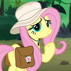 Size: 1000x1000 | Tagged: safe, screencap, fluttershy, pegasus, pony, daring doubt, butt, cropped, cute, female, hat, jungle, looking at you, mare, plot, raised hoof, saddle bag, shyabetes, smiling, solo