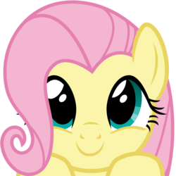 Size: 2400x2400 | Tagged: safe, alternate version, artist:cheezedoodle96, fluttershy, pegasus, pony, .svg available, boop bait, bust, close-up, cute, female, hair over one eye, hooves on the table, looking at you, mare, part of a set, peekaboo, peeking, portrait, shyabetes, simple background, smiling, solo, svg, this will end in boops, transparent background, vector, weapons-grade cute