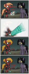 Size: 1650x4125 | Tagged: safe, artist:moonatik, oc, oc only, oc:moonatik, oc:skullpon, pegasus, pony, unicorn, barrel, boots, clothes, comic, dialogue, glasses, infinity gauntlet, infinity stones, knockoffs, male, shoes, stallion, stomp, transformation