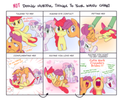 Size: 1600x1300 | Tagged: safe, artist:adequality, artist:jessy, apple bloom, scootaloo, sweetie belle, oc, oc:anon, earth pony, human, pegasus, pony, unicorn, :<, :t, adorabloom, biting, blank flank, blushing, cheering, comic, coward, crying, cute, cutealoo, cutie mark crusaders, dialogue, diasweetes, digital art, doing loving things, eye contact, eyes closed, female, fight, filly, glare, grin, gritted teeth, heart, jealous, looking at each other, looking at you, meme, not doing hurtful things to your waifu, on back, open mouth, petting, pulling, scrunchy face, smiling, tail, tail bite, tail pull, underhoof, waifu chart, wide eyes