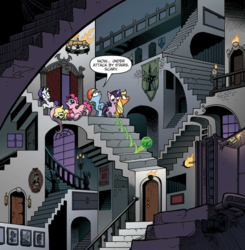 Size: 1168x1190 | Tagged: safe, artist:andypriceart, idw, applejack, fluttershy, pinkie pie, rainbow dash, rarity, twilight sparkle, earth pony, pegasus, pony, unicorn, the return of queen chrysalis, spoiler:comic, spoiler:comic04, castle, crystal ball, female, interior, labyrinth, m. c. escher, mane six, mare, official comic, speech bubble, stairs, unicorn twilight