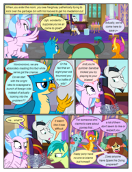 Size: 612x792 | Tagged: safe, artist:newbiespud, edit, edited screencap, screencap, chancellor neighsay, gallus, ocellus, sandbar, silverstream, smolder, yona, changedling, changeling, classical hippogriff, dragon, earth pony, griffon, hippogriff, pony, unicorn, yak, comic:friendship is dragons, chained, comic, desk, dialogue, dragoness, female, flying, frown, hand on hip, male, mouth hold, screencap comic, smiling, stallion, student six, table