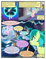 Size: 612x792 | Tagged: safe, artist:newbiespud, edit, edited screencap, screencap, chancellor neighsay, cozy glow, gallus, golden crust, ocellus, sandbar, silverstream, smolder, yona, changedling, changeling, classical hippogriff, dragon, earth pony, griffon, hippogriff, pony, yak, comic:friendship is dragons, school raze, annoyed, background pony, bow, climbing, clothes, comic, cozy glow is best facemaker, cozy glow is not amused, dialogue, dragoness, female, filly, flying, foal, freckles, hair bow, looking back, looking up, male, portal, raised hoof, screencap comic, stallion, student six