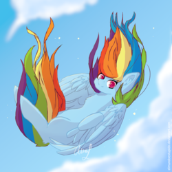 Size: 1000x1000 | Tagged: artist:wintershibe, cheek fluff, chest fluff, cloud, colored pupils, cute, dashabetes, ear fluff, falling, female, freefall, leg fluff, looking at you, mare, pegasus, pony, rainbow dash, safe, sky, solo, windswept mane