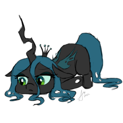 Size: 1000x1000 | Tagged: safe, artist:wintershibe, queen chrysalis, changeling, changeling queen, crown, cute, cutealis, female, floppy ears, jewelry, quadrupedal, regalia, signature, simple background, solo, transparent background