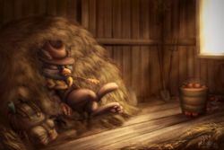 Size: 1620x1080 | Tagged: apple, artist:sharimapic, backpack, bandolier, cowboy hat, food, griffon, griffon oc, hat, hay, holster, indoors, mouse, oc, oc:peregrine, paw pads, paws, pitchfork, relaxing, resting, safe, shovel, stetson, sunlight