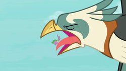 Size: 1920x1080 | Tagged: safe, screencap, spike, bird, dragon, roc, molt down, flying, male, open beak, out of context, tongue out, winged spike