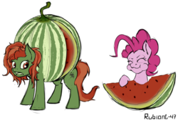 Size: 1500x1011 | Tagged: safe, artist:rubiont, pinkie pie, oc, oc:withania nightshade, earth pony, food pony, original species, plant pony, pony, fetish, food, fruit, open wounds, plant, ponified, sketch, slice, tasty, watermelon