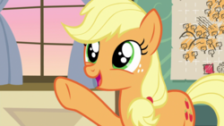 Size: 1920x1080 | Tagged: applejack, cute, freckles, going to seed, happy, jackabetes, map, safe, screencap, solo, spoiler:s09e10