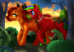 Size: 842x595 | Tagged: artist:ali-selle, commission, couple, earth pony, illustration, oc, pony, romantic, safe, ych result