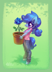 Size: 1378x1893 | Tagged: safe, artist:holivi, oc, oc only, oc:raylanda, earth pony, pony, anthro, unguligrade anthro, anthro oc, blue rose, clothes, commission, cute, daaaaaaaaaaaw, female, flower, holding, jeans, looking at something, ocbetes, pants, ponytail, pot, potted plant, rose, shirt, smiling, solo, t-shirt, younger
