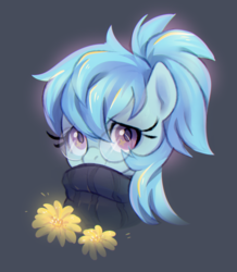Size: 1012x1160 | Tagged: artist:jumblehorse, artist:rexyseven, bust, clothes, cute, earth pony, female, flower, glasses, looking at you, mare, oc, ocbetes, oc only, oc:whispy slippers, pony, portrait, safe, smiling, solo, sweater, three quarter view, turtleneck