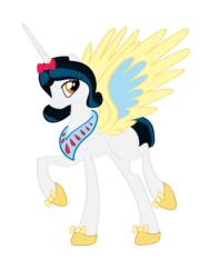 Size: 600x800 | Tagged: safe, artist:melody-serenata, alicorn, pony, alicornified, crossover, ponified, race swap, simple background, snow white, snow white and the seven dwarfs, solo, transparent background